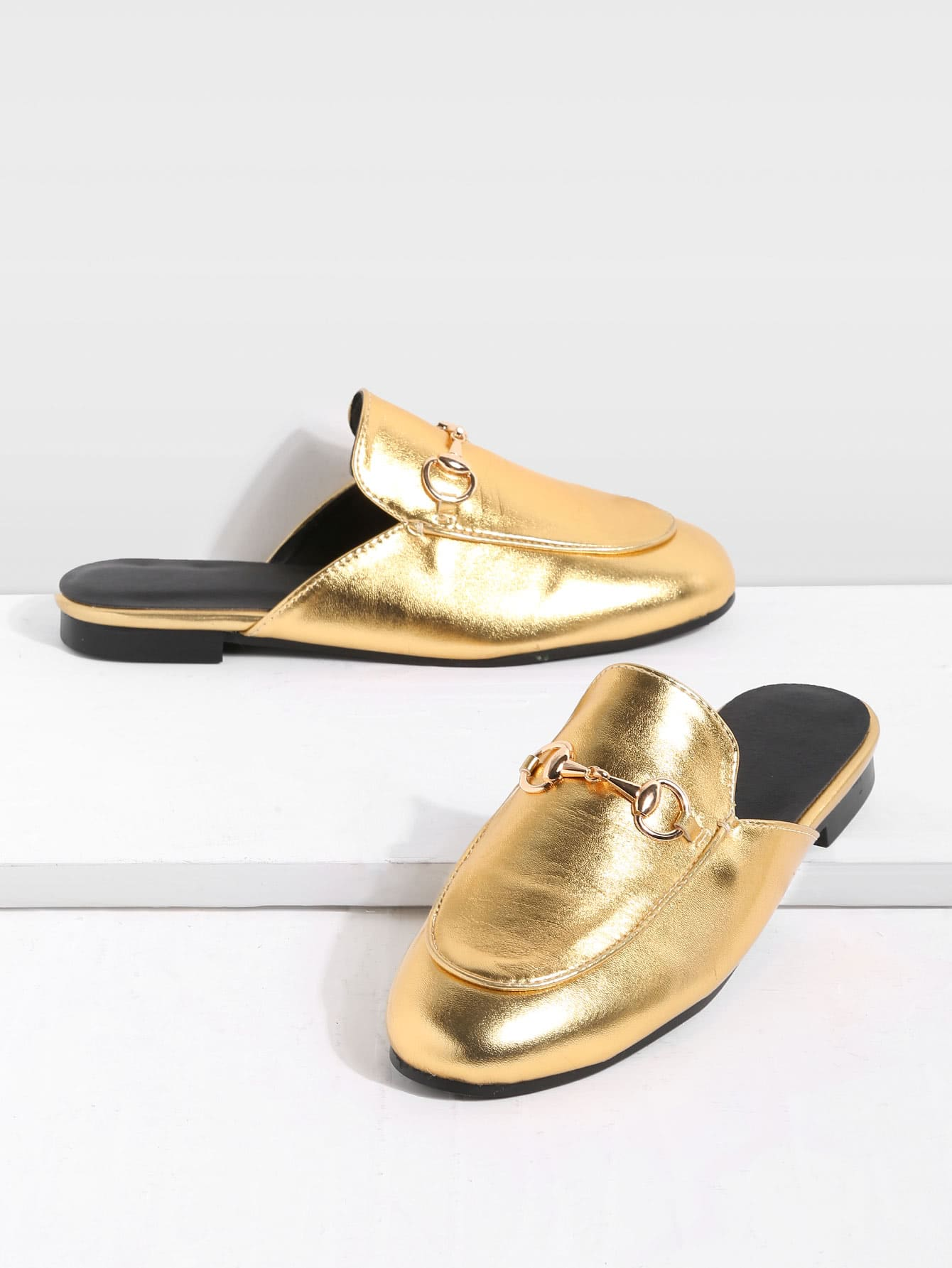 Image of Gold Faux Leather Flat Loafer Slippers