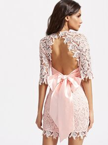 Pink Half Sleeve Bow Tie Open Back Embroidered Lace Dress