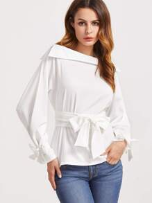 White Fold Boat Neck Belted Waist And Cuff Blouse