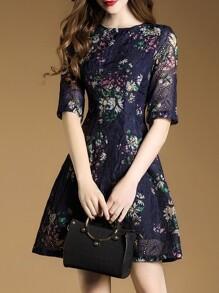 Vestido línea A de malla estampado floral - azul marino
