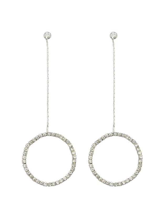 Фото Silver Color Elegant Rhinestone Circle Shape Pendant Earrings. Купить с доставкой