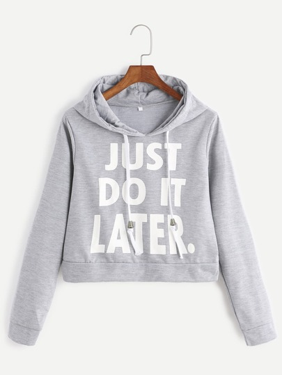 Heather Grey Hooded Slogan Print Crop Sweatshirt