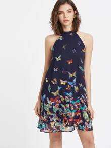 Butterfly Print Keyhole Halter Neck Dress