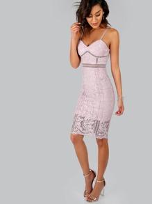 Crochet Bustier Dress DUSTY PINK