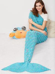 Blue Marled Fish Scale Knit Mermaid Tail Blanket