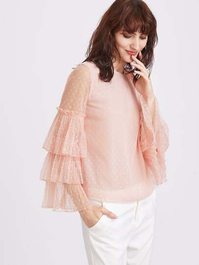 Pink Sheer Tiered Ruffle Sleeve Polka Dot Blouse