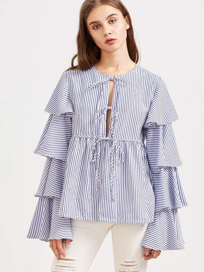 Blue Striped Tie Front Layered Ruffle Sleeve Babydoll Blouse