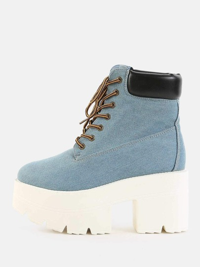 Denim Platform Ankle Boots BLUE