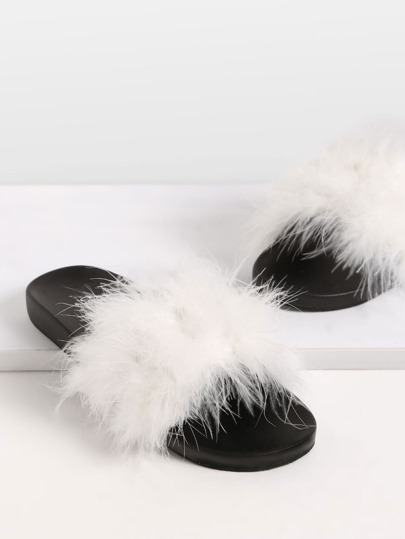 Beige Open Toe Faux Fur Slippers