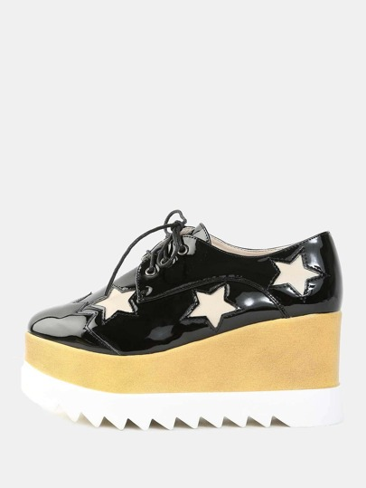 Patent Leather Platform Star Sneakers BLACK