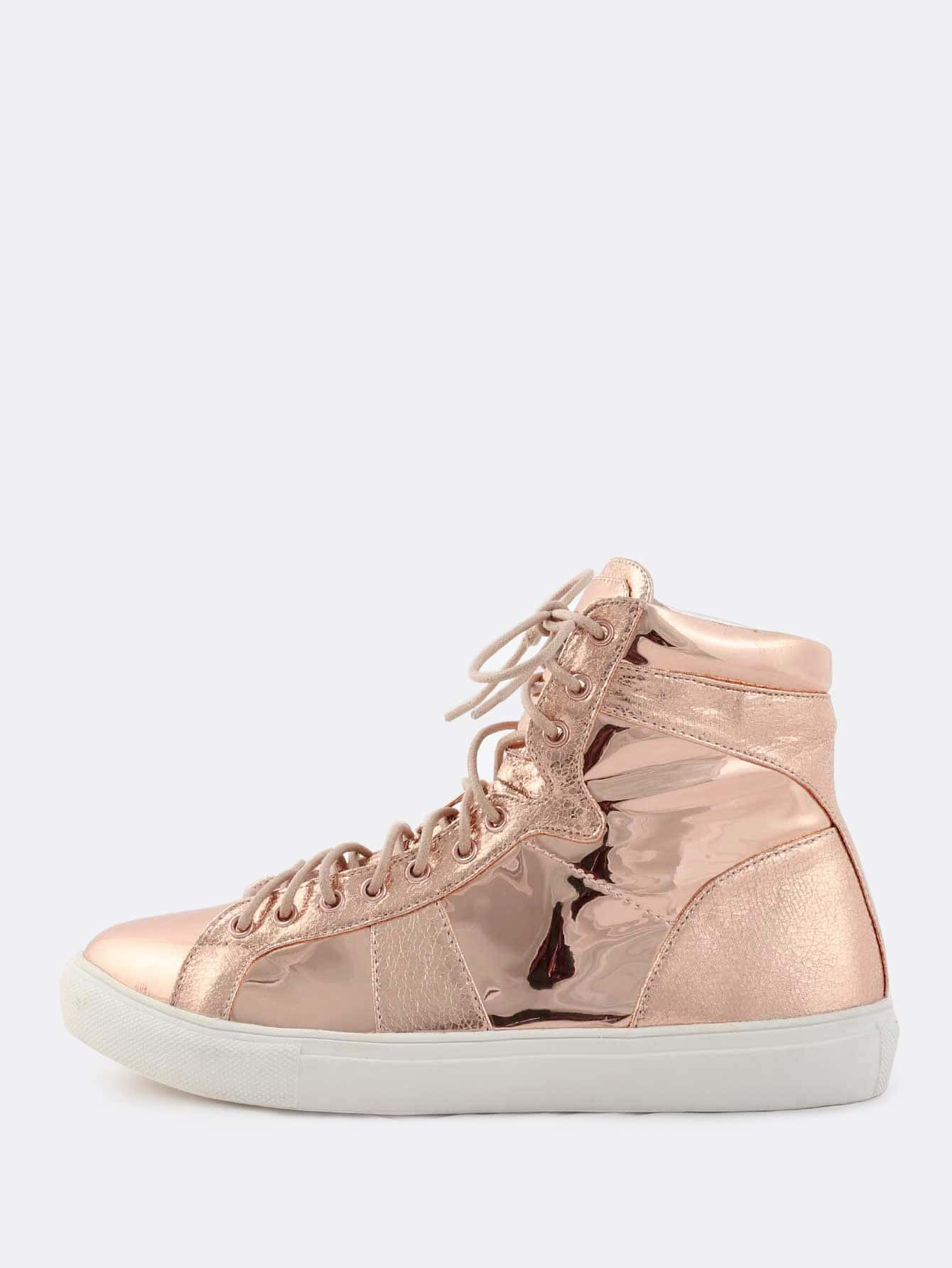 round toe metallic textured sneakers rose gold shein. Black Bedroom Furniture Sets. Home Design Ideas