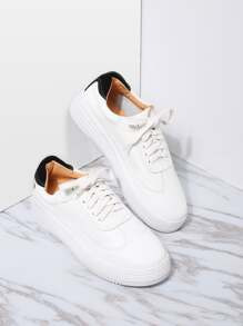White and Black PU Rubber Sole Low Top Sneakers