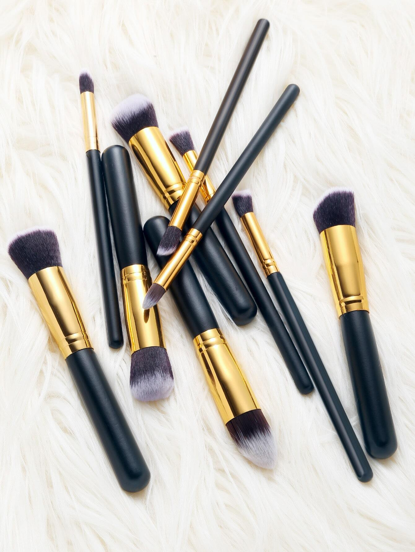 Image of 10Pcs Black Cosmetic Makeup Brush Set