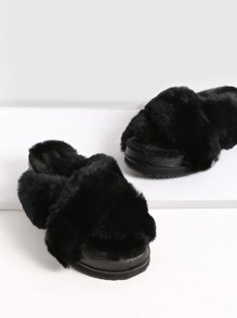 Black Rabbit Hair Fur Lined Flatform Slippers