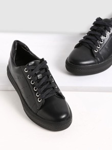 Black Breathable Rubber Sole Low Top Sneakers