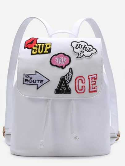 White Embroidered Patch Flap Drawstring PU Backapck