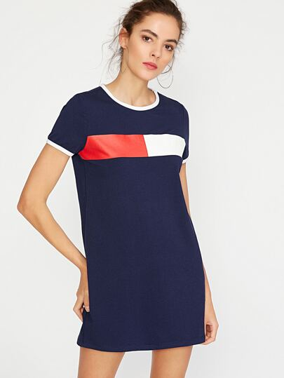 Contrast Trim Printed Short Sleeve Tee Dress