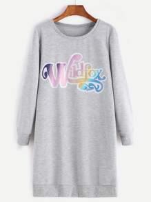 Heather Grey Letter Print Sweatshirt Dress