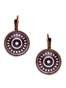 Bronze Vintage Print Glass Inlay Earrings