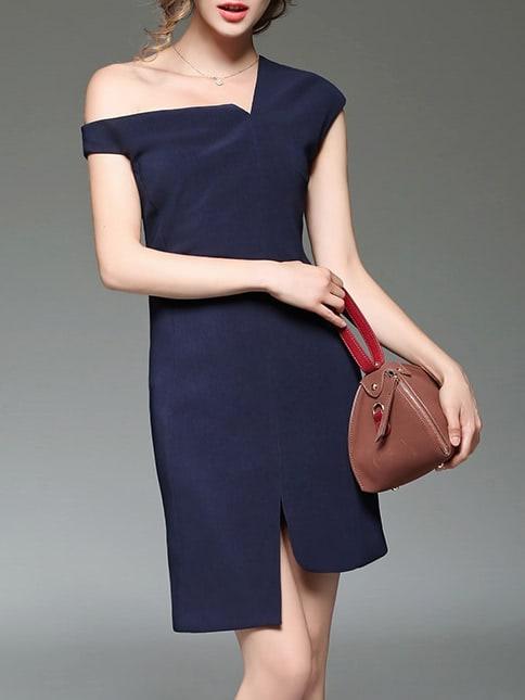 Фото Navy One Shoulder Split Asymmetric Dress. Купить с доставкой