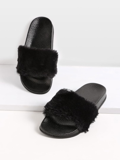 Black Rabbit Hair Soft Sole Flat Slippers