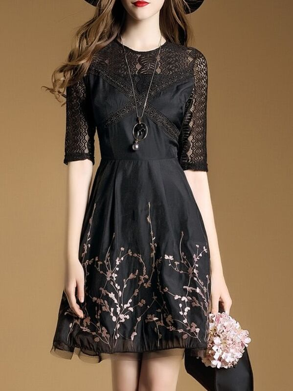 Black Embroidered Mesh A-Line Dress, null