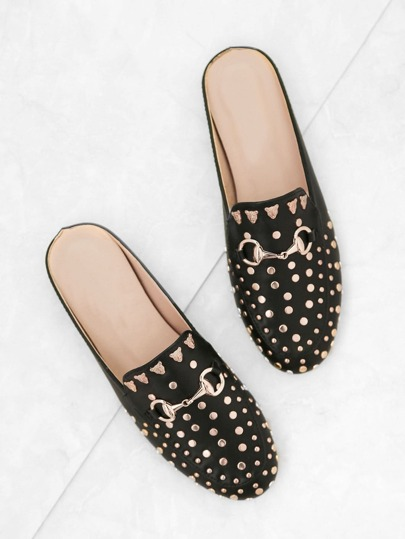 Black Gold Stud Embellished Slip-on Loafers
