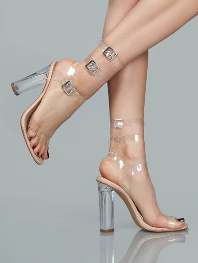 Clear Double Strap Chunk Heel Sandals NUDE
