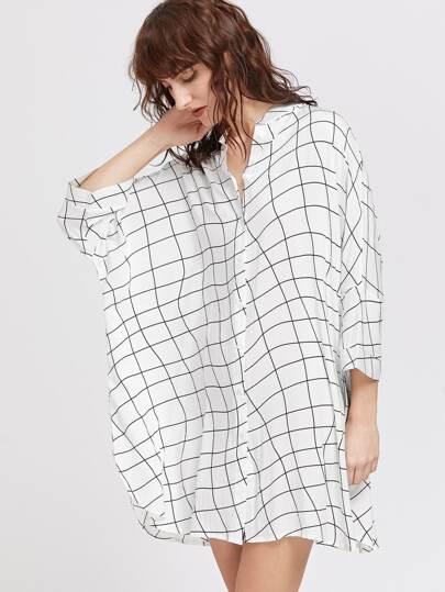 Curved Grid Dolman Sleeve Shirt Dress