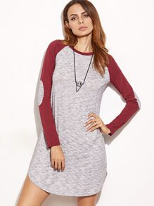 Grey Marled Contrast Raglan Sleeve Dress With Elbow Patch