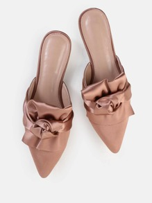 Backless Satin Knotted Flats PINK