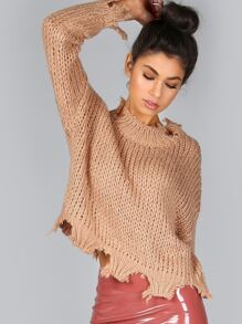 Cropped Snip Knit Sweater SPICE