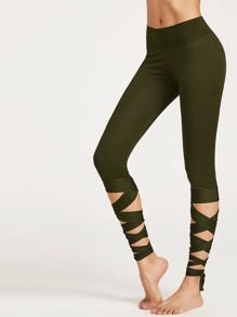Olive Green Wrap Up Hem Leggings