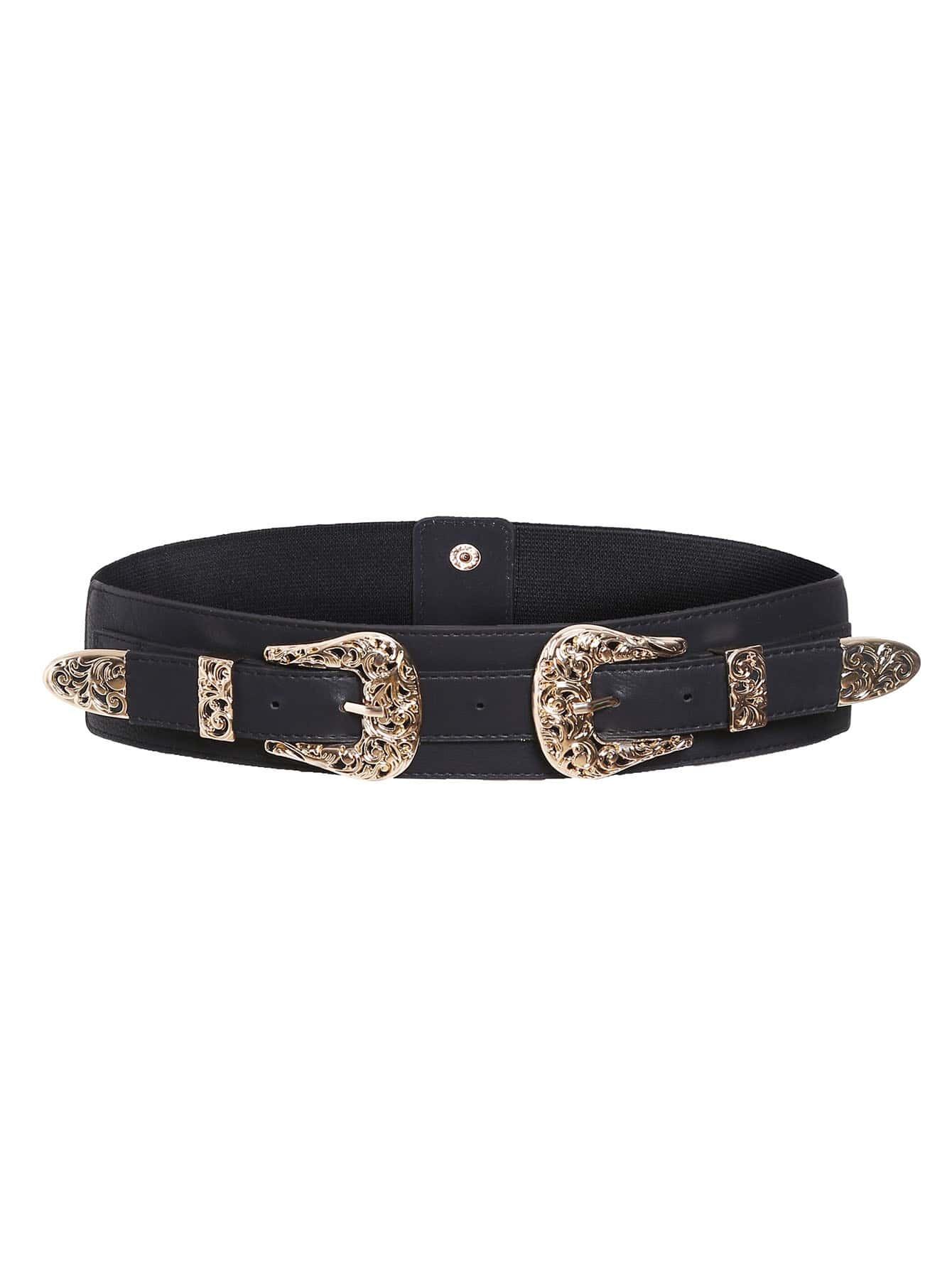 Gold Double Buckle Waist Belt
