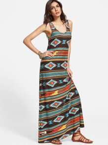 Multicolor Tribal Print Scoop Neck Tank Dress