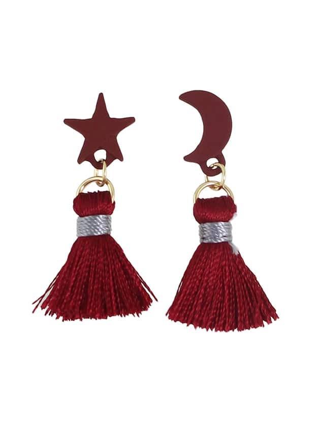 Фото Red Color Moon Star Shape Thread Tassel Earrings. Купить с доставкой