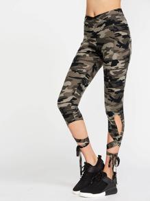 Olive Green Camo Imprimer haute taille Criss Cross Tie Leggings