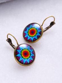 Bronze Vintage Print Glass Inlay Earrings