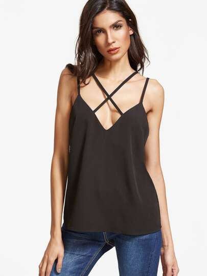 Double Strap Crisscross Front Cami Top