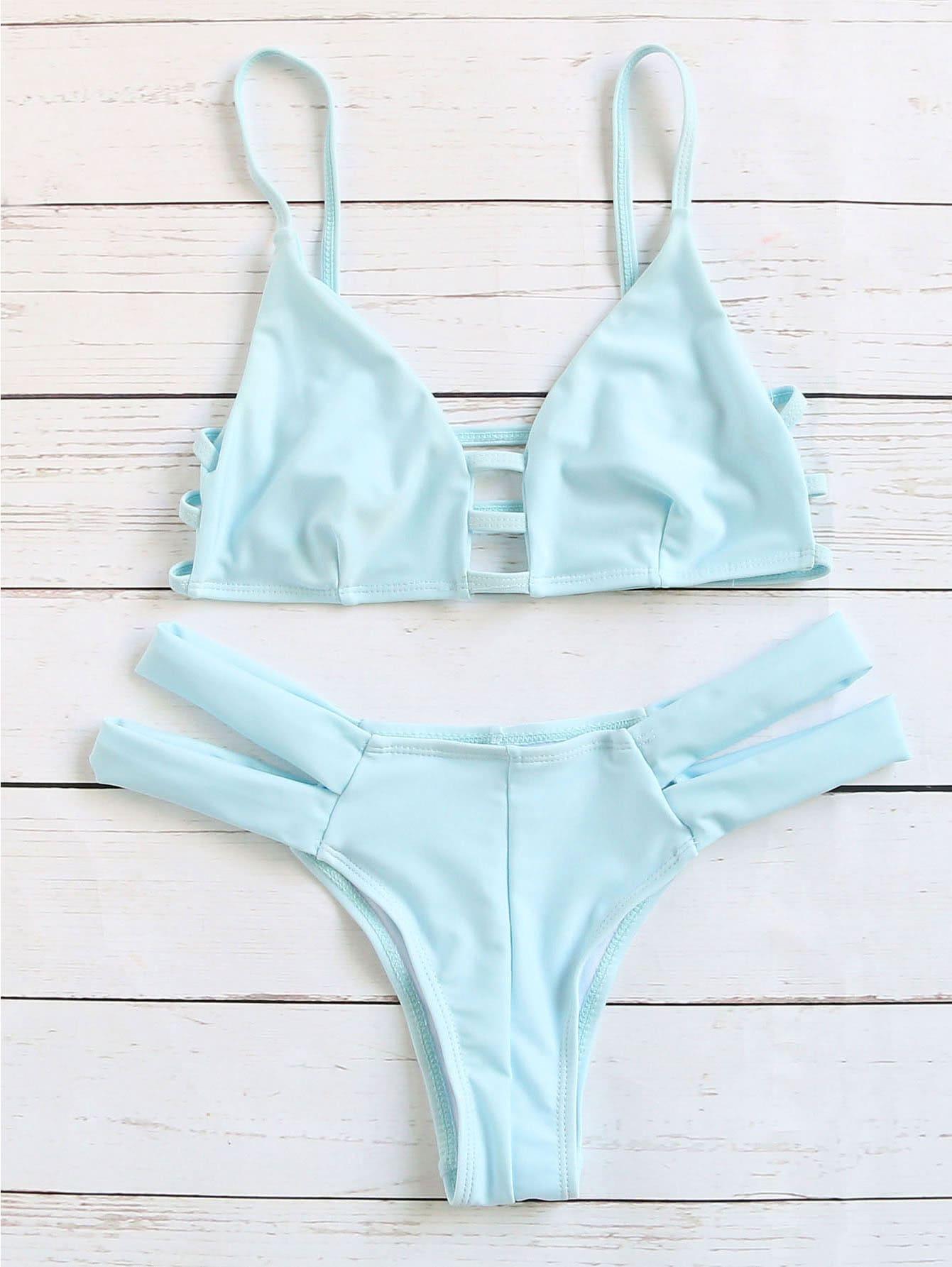 Blue Cutout Strappy Sexy Bikini Set
