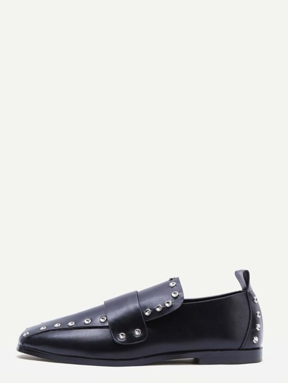 Black Faux Leather Stud Embellished Loafers