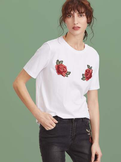 White Embroidered Rose Applique Short Sleeve T-shirt