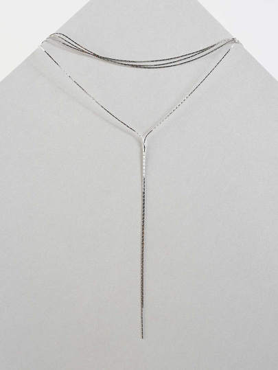Lariat Strand Chain Choker Necklace SILVER