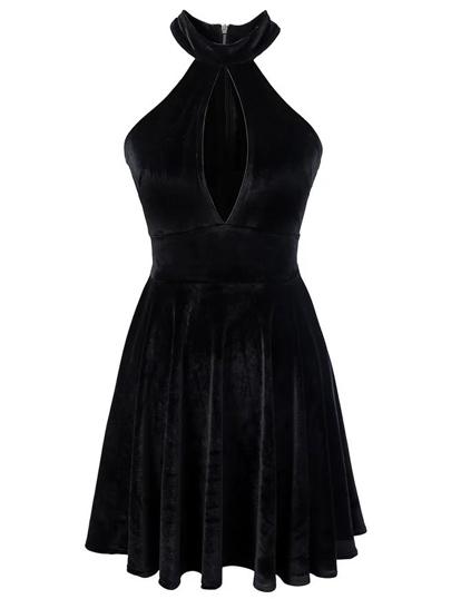 Black Halter Keyhole Velvet A Line Dress