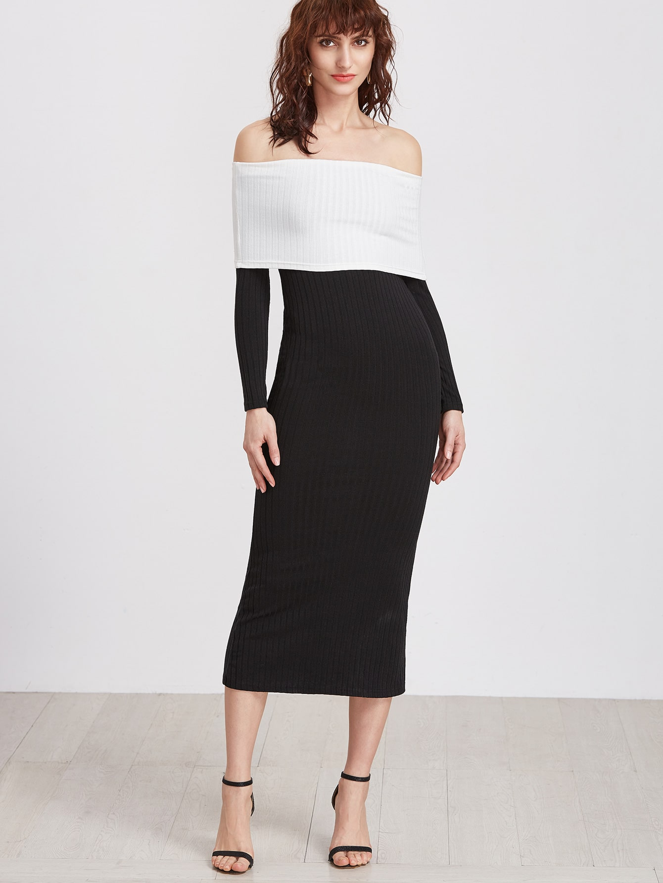 Black Contrast Foldover Off The Shoulder Ribbed Dress dress161019725