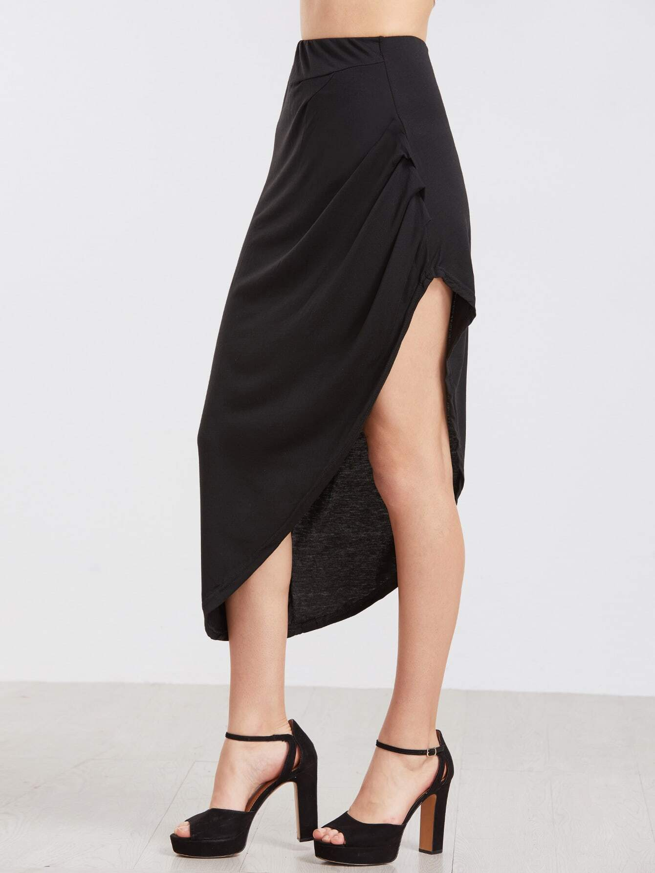 Black Ruched Asymmetrical Skirt