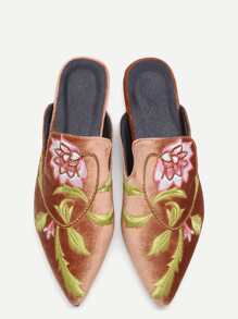 Chaussons Loafer brodé floral velours -marron