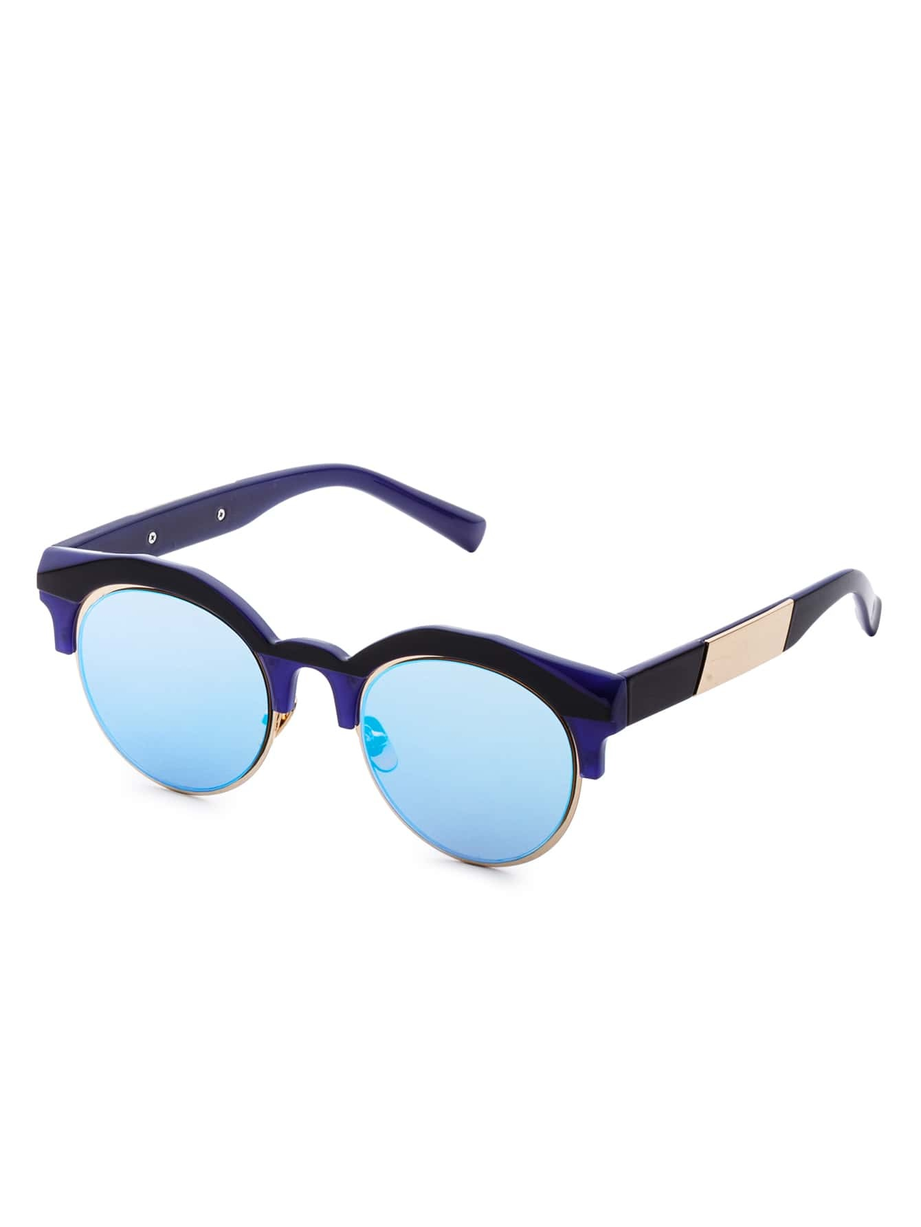 Navy Frame Round Lens Sunglasses sunglass170110308