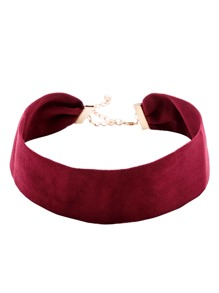 Bourgogne Suede Simple Collier Choker Large