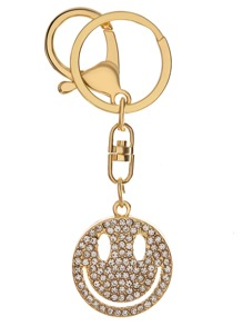 Gold Rhinestone Encrusted Smiley Face Keychain